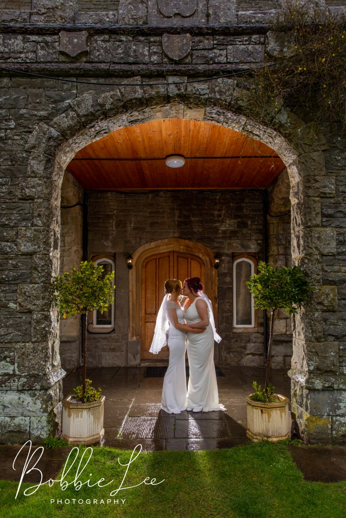 couple at two brides at the old rectory crickhowell wedding